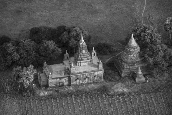 Temple and stupa from above