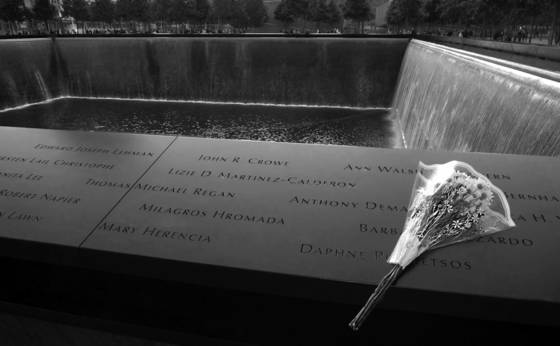 9 11 fountain and floral tribute