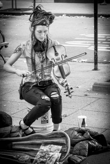 Street musician with fiddle