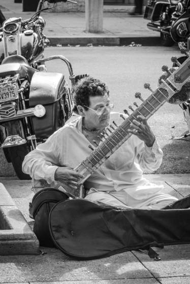 Street musician with sitar