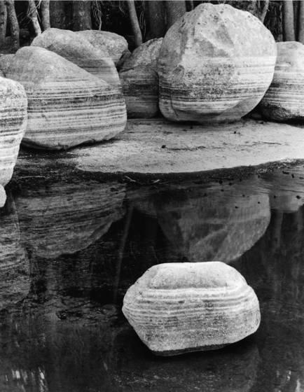 Waterline marked boulders