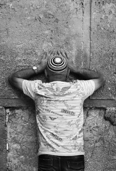 Silent prayer at the kotel