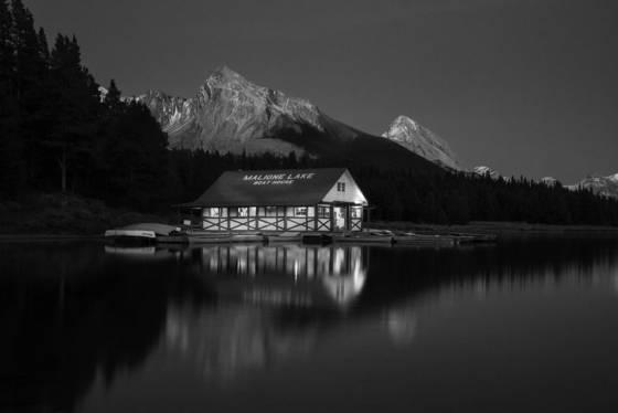 Twilight maligne lake boathouse