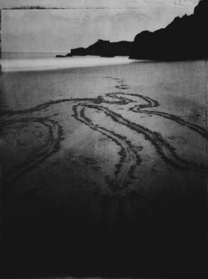 Scratched beach