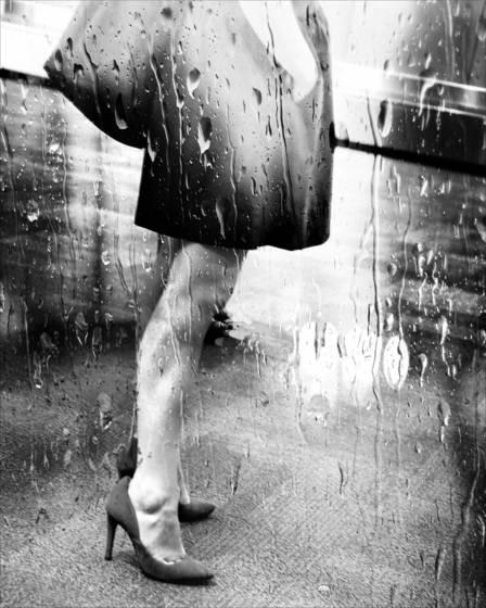 High heels in the rain