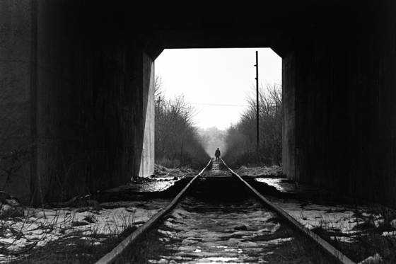 Man on rr tracks
