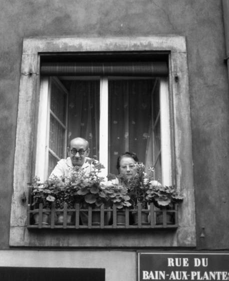 Couple in window in strasbourg