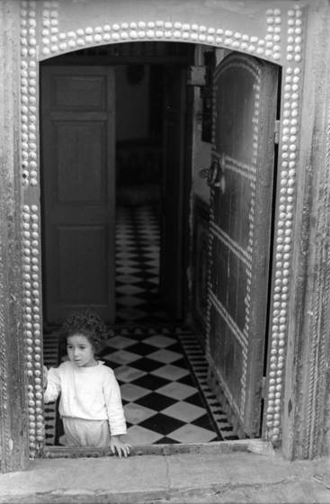 Little girl in doorway in morocco