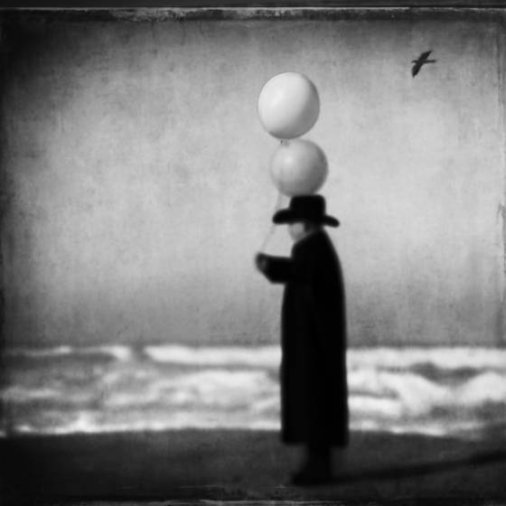 Man in black with balloons  2