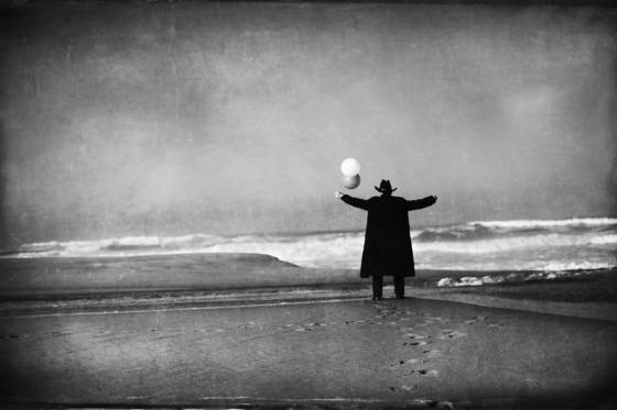 Man in black with balloons  4