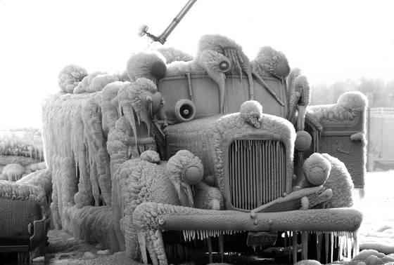 Iced fire truck