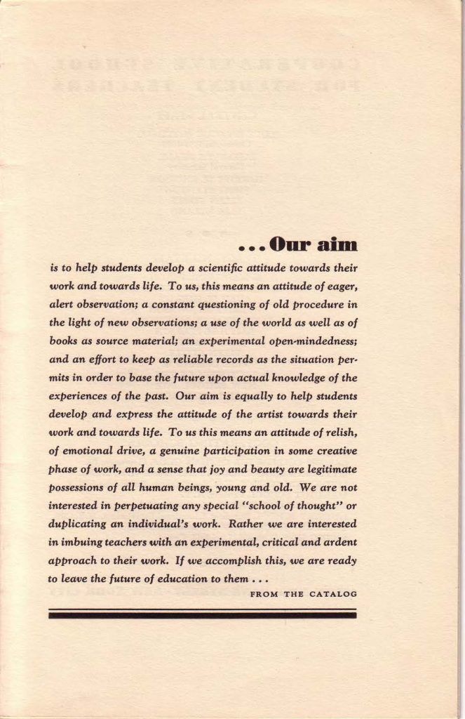 """""""Our Aims,"""" page 2 of the C.S.S.T. course catalog, 1931"""