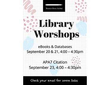 Library workshops September 2021