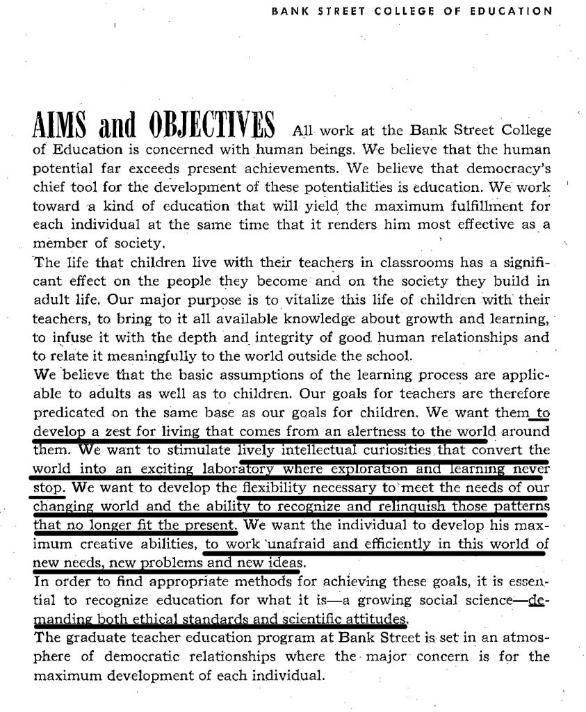 Aims and Objectives page of the 1954 course catalog paraphrased the credo bullet points.