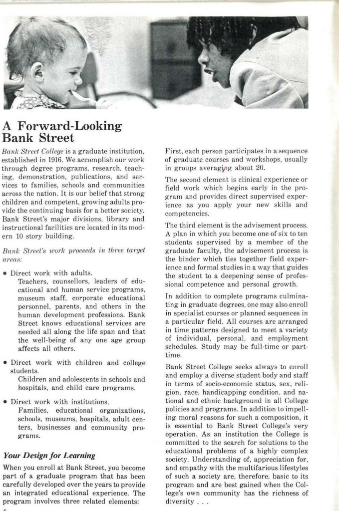 """""""A Forward Looking Bank Street"""" text from catalog"""