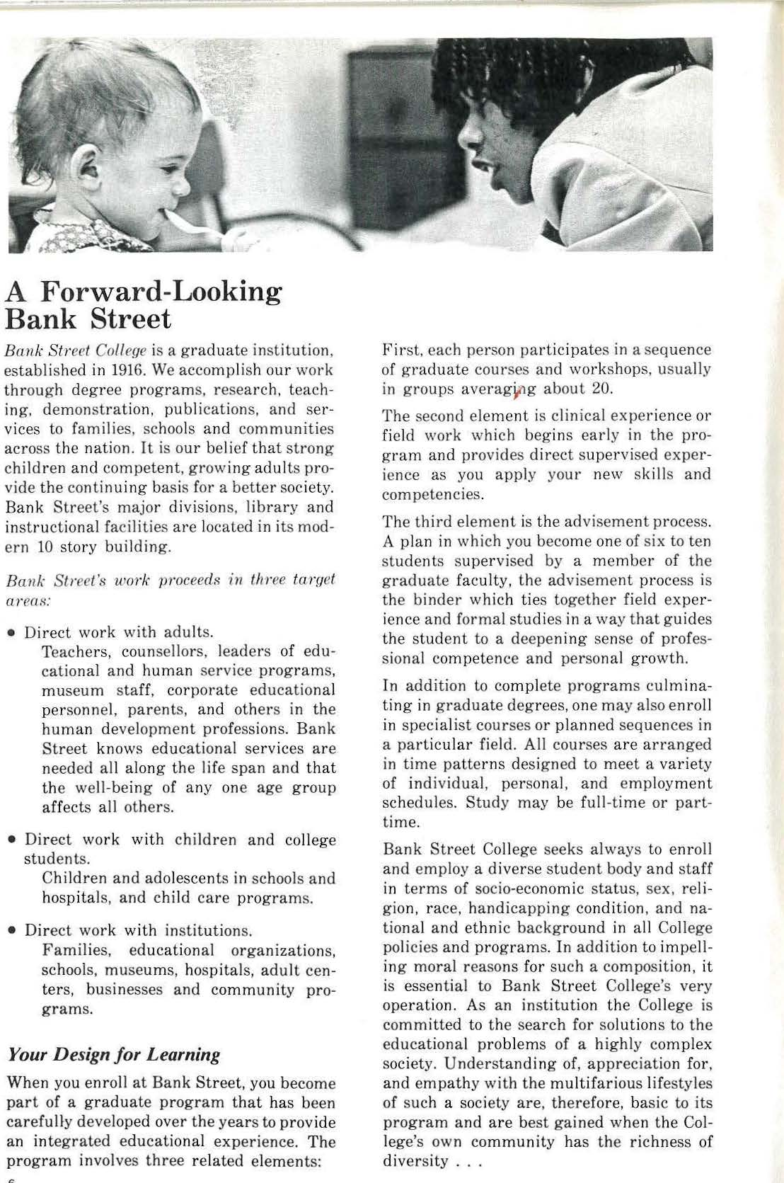 """A Forward Looking Bank Street"" text from catalog"