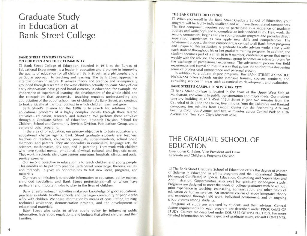 Introductory text of 1983 course catalog.