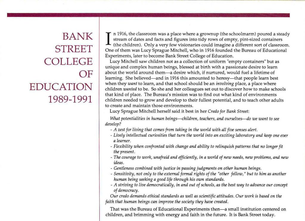 Credo for Bank Street reintroduced in the 1989 course catalog
