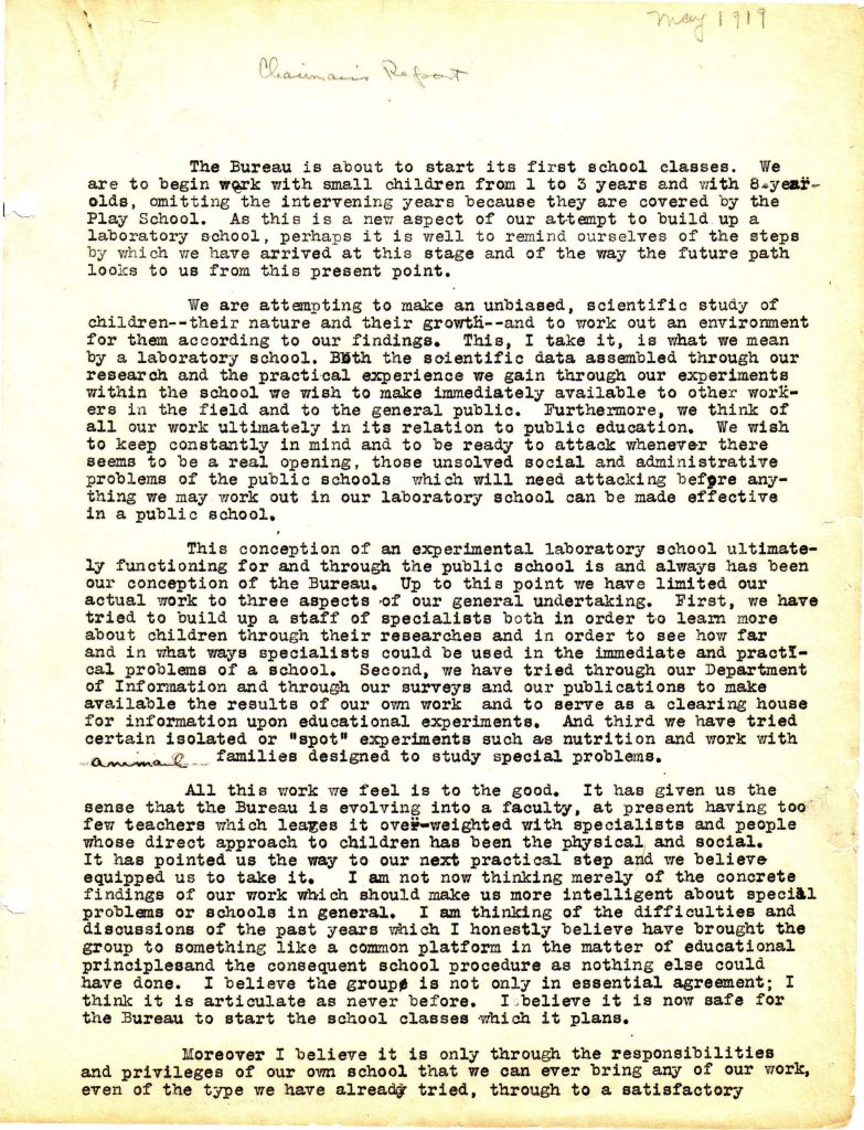 Page 1 of Lucy Sprague Mitchell's 1919 report