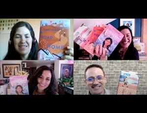 Alexandra Diaz, Carla España, Aida Salazar, and Ernesto Cisneros showing book covers during panel discussion