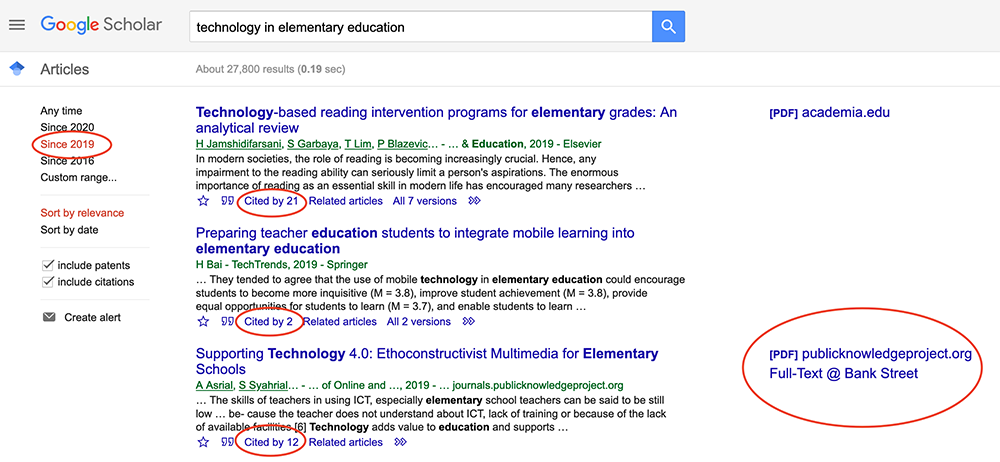 Google scholar list of articles