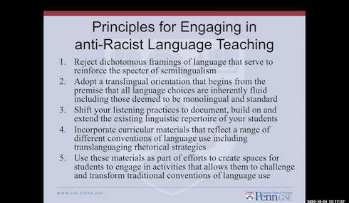"""Slide on """"Principles for Engaging in Anti-Racist Language Teaching"""" by Nelson Flores"""
