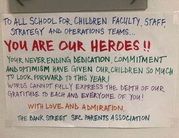 """You are our heroes!!"" sign from SFC Parents Association"
