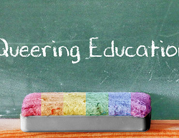 """""""Queering Education"""" chalkboard graphic"""