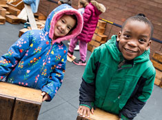 Family Center students outside on playdeck