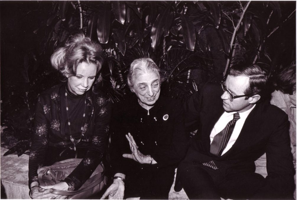 Archival photo of President Roberts to the right of Charlotte Biber Winsor, both seated.
