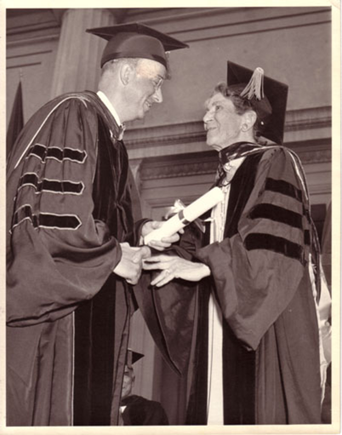 Lucy Sprague Mitchell accepting an honorary degree at USC, 1958