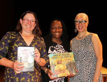 Kimberly Brubaker Bradley, author of The War That Saved My Life, with Ekua Holmes and Carole Boston Weatherford, illustrator and author of Voice of Freedom: Fannie Lou Hamer, Spirit of the Civil Rights Movement