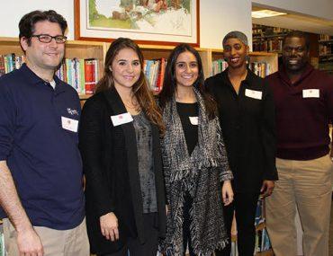 GSE Alumni Steve Evangelista, Jessica Dadigan, Elizabeth Gordon Rosenfeld, Davia Franklyn, and Medard Thomas.