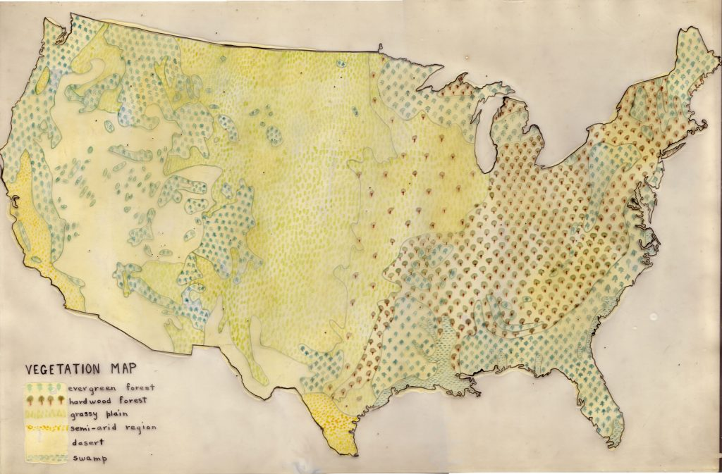 Vegetation map by Lucy Sprague Mitchell