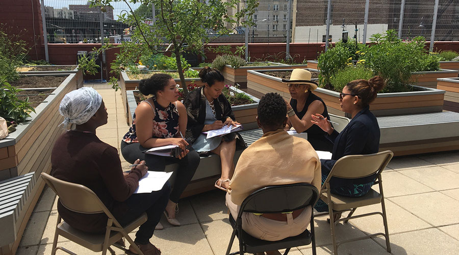 Participants talk outside on a rooftop garden during a PDI