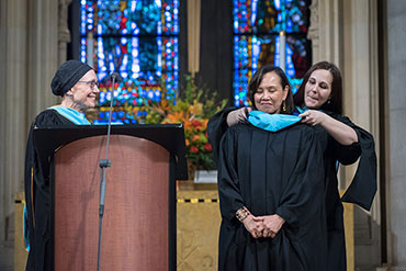 Award recipient at Bank Street's commencement