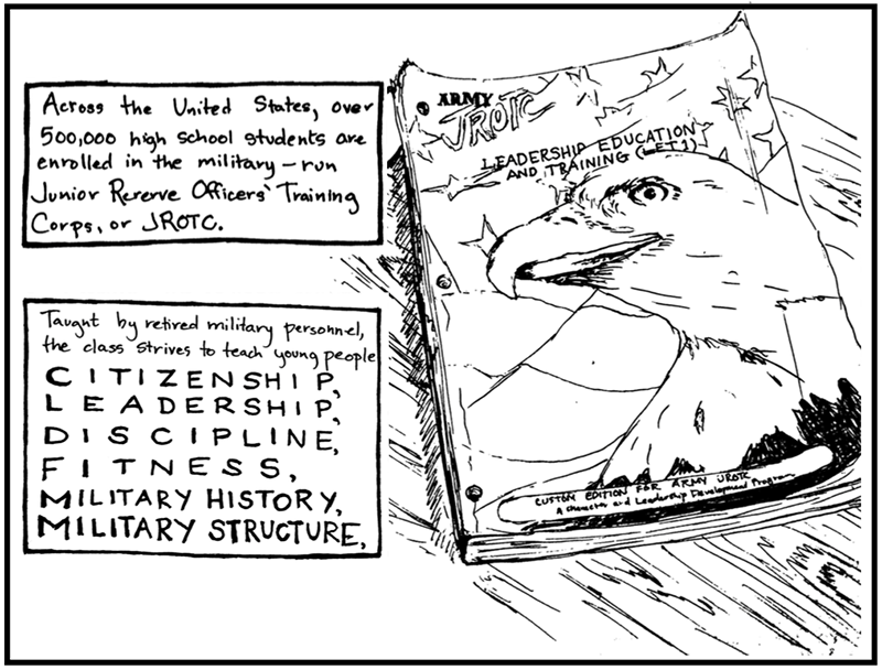 First page of a graphic essay on military patriotism