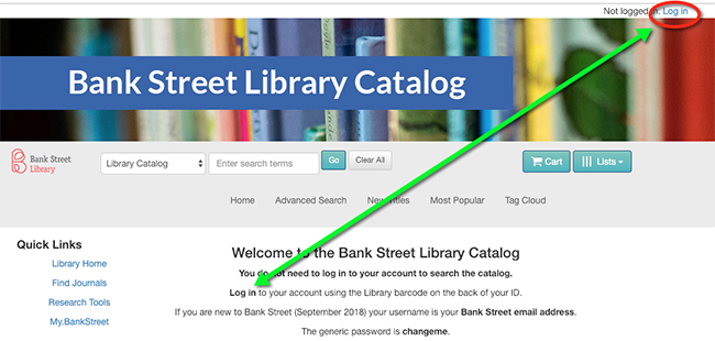 Find the library login link