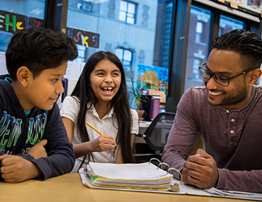 Two Liberty LEADS students with a mentor