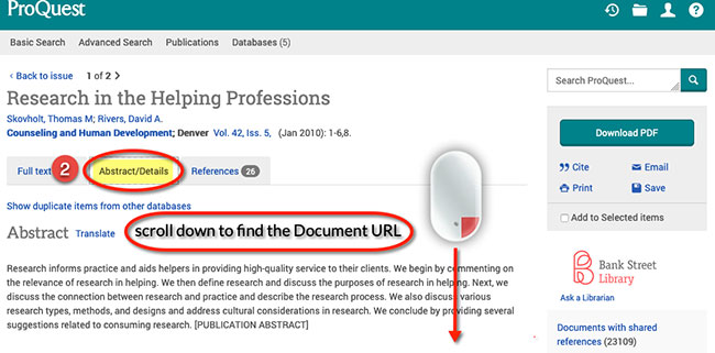 ProQuest document url step 2