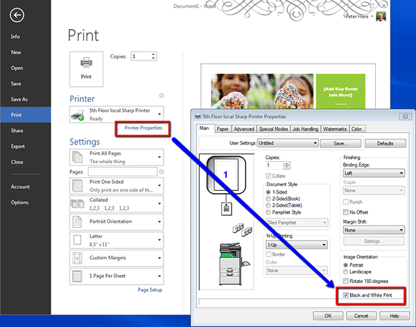 How to print black and white on a PC