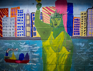 Statue of Liberty mural at Bank Street