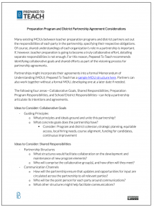 Preparation Program and District Partnership Agreement Considerations
