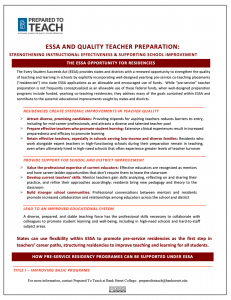 The ESSA Opportunity for Residencies