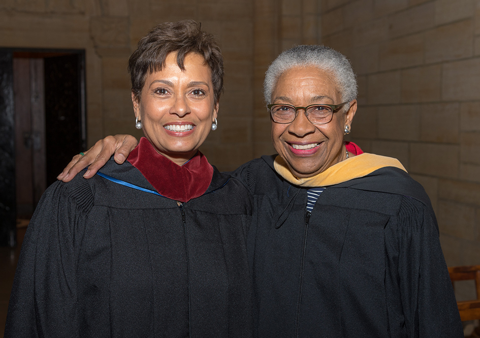 Yolanda Ferrell-Brown and Fern Kahn at commencement