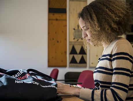 Grad student at desk