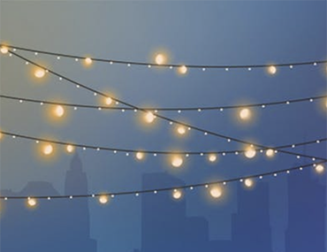 Lights against cityscape graphic