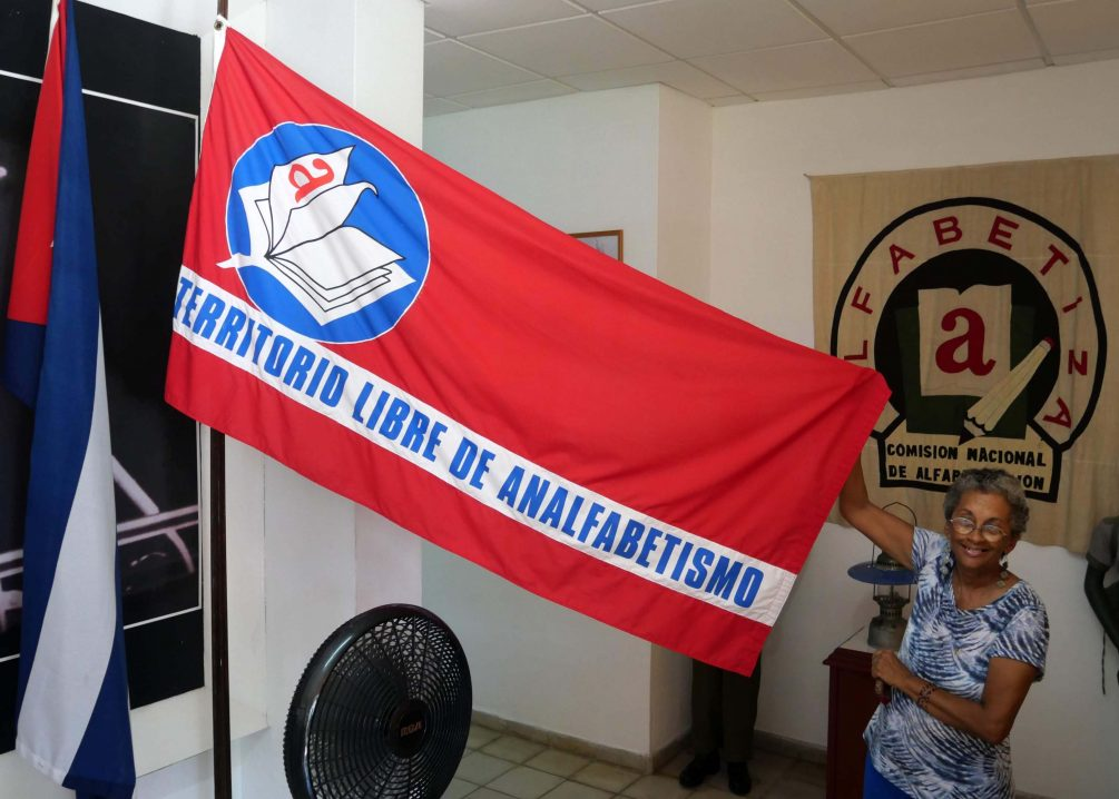 Flag at the Literacy Museum announcing Cuba free from illiteracy