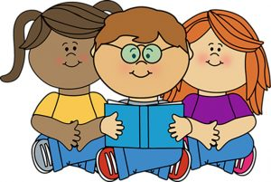 Three children of varied races and genders reading