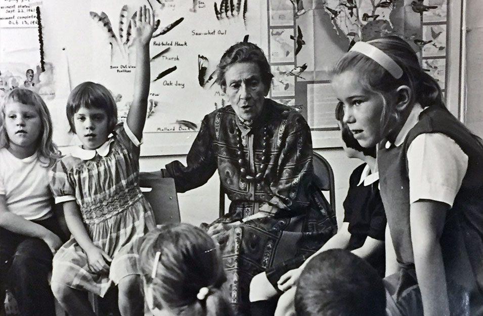Lucy Sprague Mitchell with children